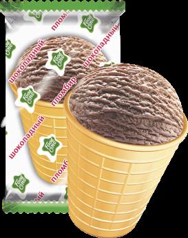Food One шоколадный пломбир в вафельном стаканчике