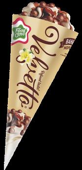 VELVETTO – пломбир с ароматом ванили в сахарном глазированном рожке, залитый шоколадом с воздушным рисом