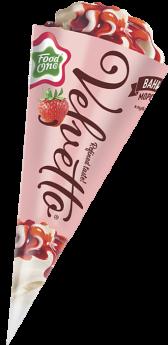 VELVETTO – пломбир с ароматом ванили в сахарном глазированном рожке, залитый клубничным джемом