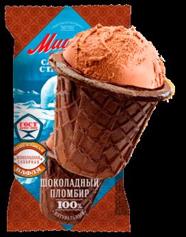 Шоколадный  пломбир в шоколадном сахарном стаканчике
